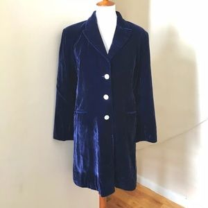 Vtg 90s Silk Velvet Coat / Jacket Royal Blue 1990s